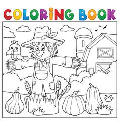 coloring book scarecrow theme 2 vector image