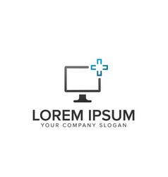 computer screen servisce logo vector image