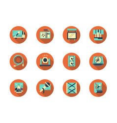 Concert equipment round flat icons set vector