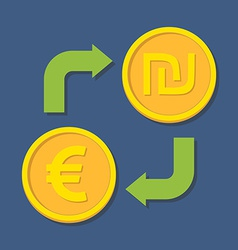 Currency exchange Euro and Shekel vector image