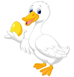 Cute duck cartoon holding golden egg vector