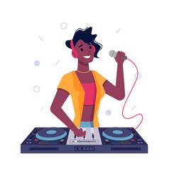 dj girl black afro american speak in microphone vector image