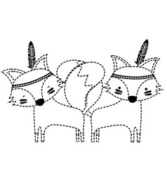 Dotted shape fox animals couple together with vector