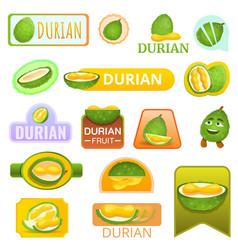 Durian fruit logo set cartoon style vector