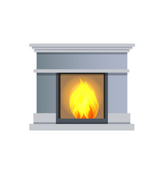 Fireplace made of stone object vector