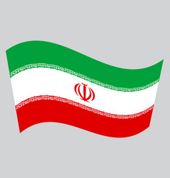 Flag of iran waving on gray background vector