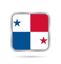 Flag of panama shiny metallic gray square button vector