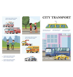 flat city transport infographic template vector image