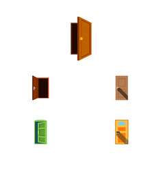 flat icon approach set of exit entrance frame vector image vector image
