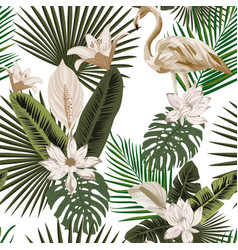 floral and animal seamless composition white vector image