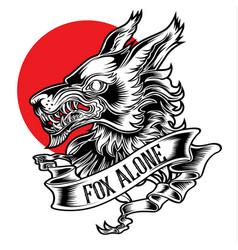 Fox alone roker tattoo head and ribbon vector