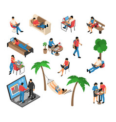 Freelancer work isometric set vector