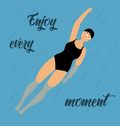 girl swimming and relaxing on her back enjoy vector image