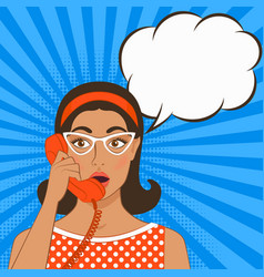 Girl with telephone handset vector