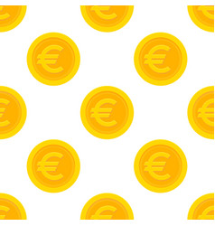 golden euro coins seamless pattern vector image