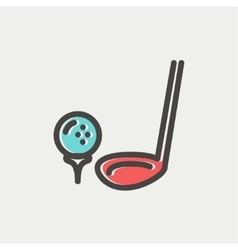 Golf Ball And Putter thin line icon vector image