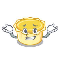 Grinning egg tart character cartoon vector