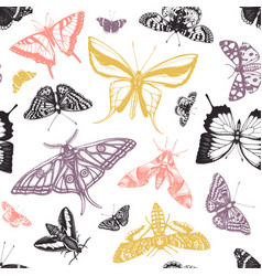 hand drawn butterflies seamless pattern high vector image
