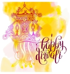 Happy Deepawali watercolor greeting card to indian vector