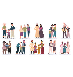 happy families large families together mom dad vector image