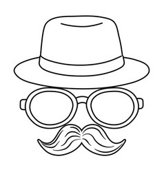 hat glasses and moustache black and white vector image