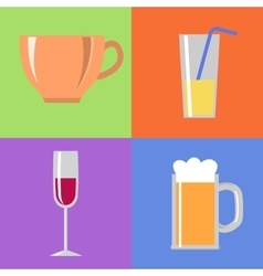Icons with glasses and cup vector image