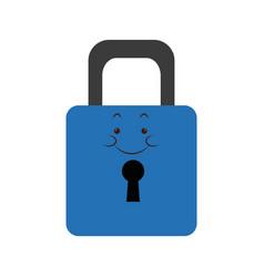 Kawaii padlock security protection safety vector
