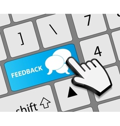 Keyboard feedback button with mouse hand cursor vector image