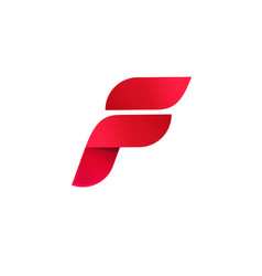 letter f logo elegant gradient red color vector image