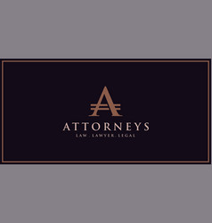 logo letter a for law and lawyers vector image