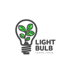 Logo with plant growing inside light bulb ecology vector
