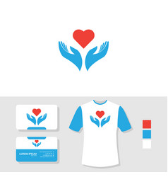 Love charity logo design with business card and t vector