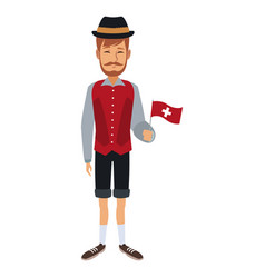 Man holding flag with custome traditional vector