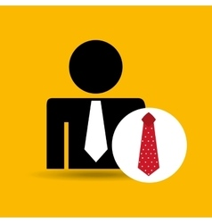 Man silhouette business and red tie design icon vector