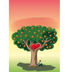 Man sitting in the shade of the tree of love vector