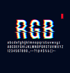 Modern style distorted glitch typeface mixing red vector