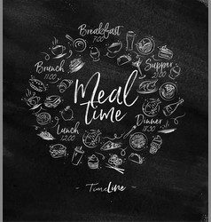 Monogram meal time chalk vector