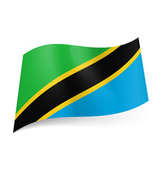 national flag of tanzania diagonal yellow vector image