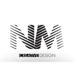 nm n m lines letter design with creative elegant vector image