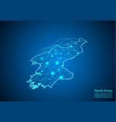 North korea map with nodes linked by lines vector