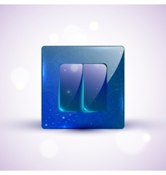 On Off blue glass switch with ornament vector image