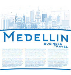 Outline medellin skyline with blue buildings and vector