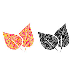 pixel flora leaves mosaic icons vector image