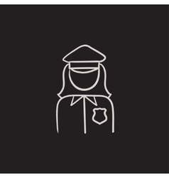 Policewoman sketch icon vector image