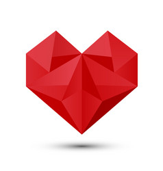 polygonal red heart vector image