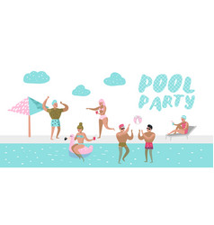 pool party poster characters people swimming vector image