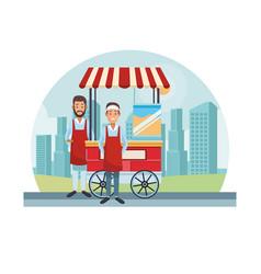 popcorn cart at city vector image