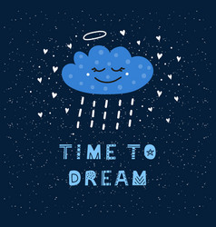 Poster with cloud character and lettering vector
