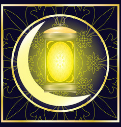 ramadan holiday lantern crescent ornament vector image