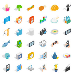Reality icons set isometric style vector
